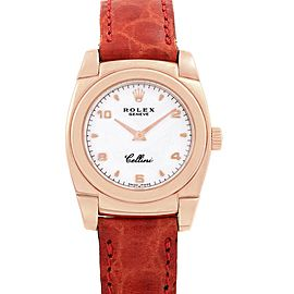 Rolex Cellini Cestello Ladies Rose Gold White Dial Red Strap Watch 5310