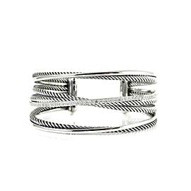 David Yurman Sterling Silver .65Tcw 4-Row Diamond Crossover Cuff Bracelet