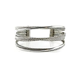 David Yurman Sterling Silver 14K .65Tcw 4-Row Diamond Crossover Bracelet
