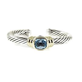 David Yurman Sterling Silver 14K 7mm Blue Topaz Noblesse Bracelet