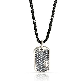 David Yurman Pave Dogtag Men's Necklace with Gray Sapphires