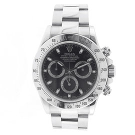 Unisex Rolex Daytona Cosmograph Stainless Steel Black Dial