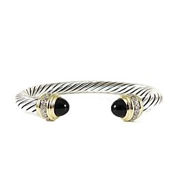 David Yurman Sterling Silver 18K .48Tcw 7mm Black Onyx Diamond Bracelet