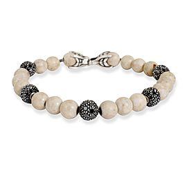 David Yurman Riverstone Spiritual Diamond Bead Men's Bracelet in Silver 7.2