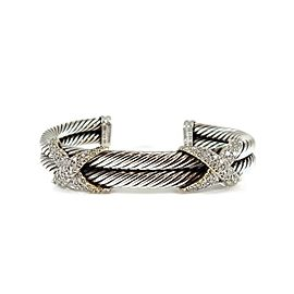 David Yurman Sterling Silver 18K .85Tcw 2-Row Diamond XX Bracelet
