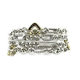 David Yurman Sterling Silver 18K 4-Row Figaro Chain Donut Bracelet