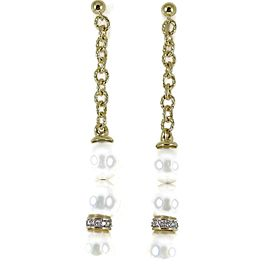 David Yurman 18K Yellow Gold .30Tcw South Sea Pearl Diamond Chain Drop Earrings