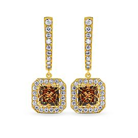 Leibish 18K Yellow Gold Fancy Yellow Brown Princess Diamond Drop Halo Earrings