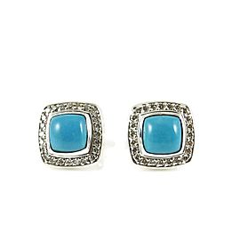 David Yurman Sterling Silver .39Tcw Turquoise Diamond Petite Albion Earrings