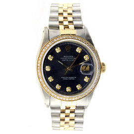Vintage Rolex Datejust 36MM Stainless Steel and Yellow Gold with Diamonds