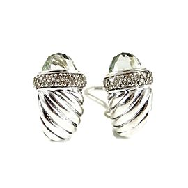 David Yurman Sterling Silver .45Tcw Prasiolite Diamond Waverly Earrings