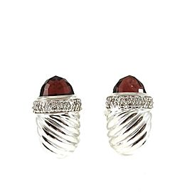 David Yurman Sterling Silver .45Tcw Rhodolite Garnet Diamond Waverly Earrings