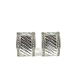David Yurman Sterling Silver 1.12Tcw Diamond Cigar Band Earrings