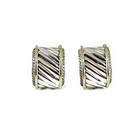 David Yurman Sterling Silver 14K 1.00Tcw Diamond Cigar Band Earrings