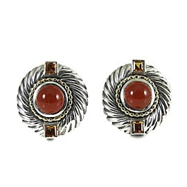 David Yurman Sterling Silver 14K Gold Carnelian Renaissance Earrings