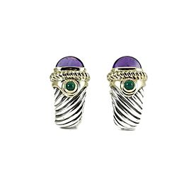 David Yurman Sterling Silver 14K Gold Large Amethyst Renaissance Earrings