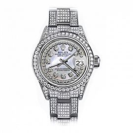 Rolex White Pearl String 31mm Datejust SS Full Diamonds Custom Watch