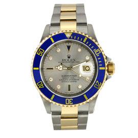Rolex Submariner Steel & Gold Slate Serti Diamond Dial Blue Bezel 40mm 16613