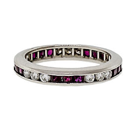Byard F. Brogan Platinum Ruby & Diamond Eternity Ring Size 6