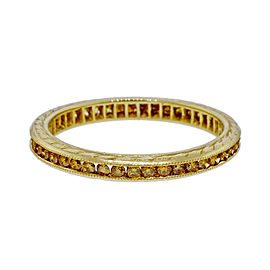 Peter Suchy 18K Yellow Gold with 0.40ct Fancy Yellow Diamond Wedding Band Ring Size 6