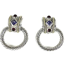 David Yurman Sterling Silver 14K Rhodolite Garnet Iolite Doorknocker Earrings