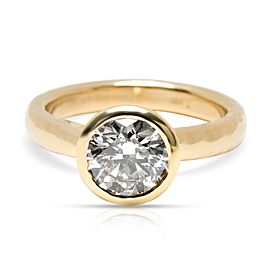 Blue Nile Bezel Set Solitaire Diamond Engagement Ring in 18K Gold 1.84 ct H/SI1