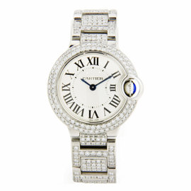 Cartier Ballon Bleu Stainless Steel Covered in Diamonds 28mm