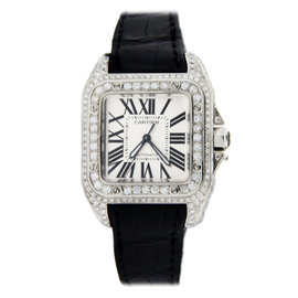 Cartier Santos 100 Medium-Size Stainless Steel with Diamonds 32mm