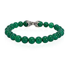 David Yurman Spiritual Beads Green Onyx Men's Bracelet in Sterling Silver