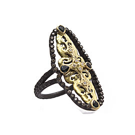 Blackened Sterling Silver/18k Yellow Gold Open Scalloped Ring