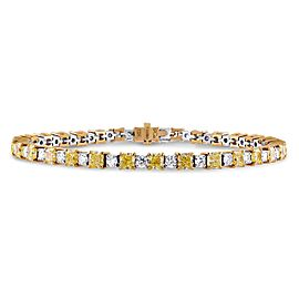 Leibish 18K White and Yellow Gold Fancy Yellow and White Diamond Bracelet