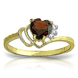 0.97 CTW 14K Solid Gold Ring Natural Diamond Garnet