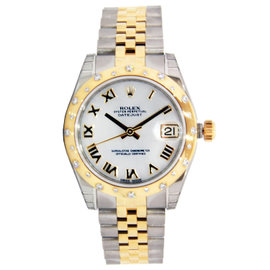 Rolex Datejust Ladies Stainless Steel & Yellow Gold with 24 Diamond Bezel 31mm