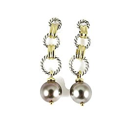 David Yurman Sterling Silver 18K Tahitian Pearl Figaro Chain Drop Earrings