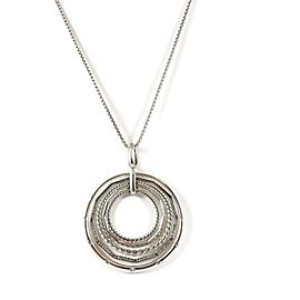 "David Yurman Sterling Silver .49Tcw 36"" Large Diamond Stax Pendant Necklace"