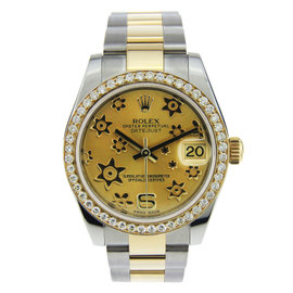 Rolex Datejust Two Tone with Floral Dial & Diamond Bezel 31mm