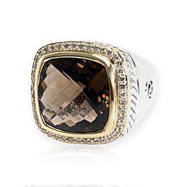 David Yurman Albion Smokey Topaz & Diamond Ring in 18K Gold & Silver 0.44