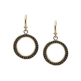 Blackened Sterling Silver/18k Yellow Gold 20mm Open Circle Drop Earrings