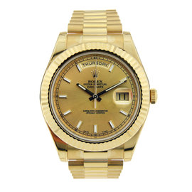Rolex Day Date II 18K Yellow Gold with Champagne Stick Dial 41mm
