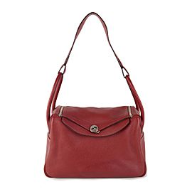 Hermès Rouge Garance Clémence Leather Lindy 34