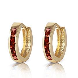 1.3 CTW 14K Solid Gold Hoop Huggie Earrings Garnet