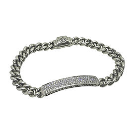 David Yurman Sterling Silver with 0.64ctw. Diamond ID Bracelet