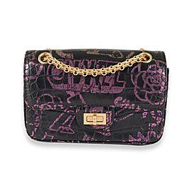 Chanel Black Crocodile Embossed Graffiti Reissue 2.55 224 Mini Flap Shoulder Bag