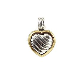 David Yurman Sterling Silver 18K Carved Cable Heart Locket Enhancer
