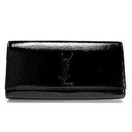 Saint Laurent Black Patent Leather Classic Monogram Clutch