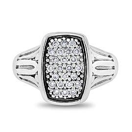 David Yurman Silver 925 18k Gold 0.25 Ct. Authentic Caviar Ring Size 6.75