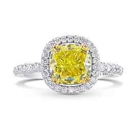 Leibish Platinum and 18K Yellow Gold Fancy Intense Yellow Cushion Diamond Halo Ring Size 6