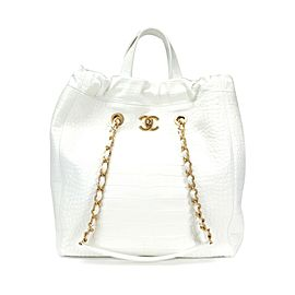 Chanel White Crocodile-Embossed Large Shopping Tote