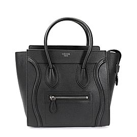 Céline Black Drummed Calfskin Leather Micro Luggage Tote
