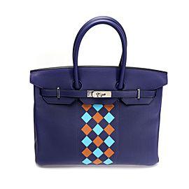 Hermès Limited Edition Bleu Encre Swift & Epsom Tressage Birkin 35 with PHW